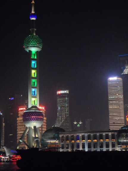 A closer shot of the Oriental Pearl Tower