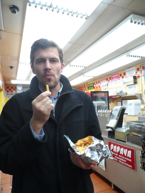 Mike eating the Papaya Dog fries