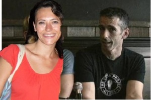 Dan Savage and me at a diner