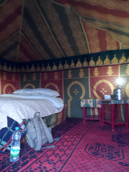 Inside our traditional Berber tent