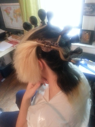 Prepping the hair.
