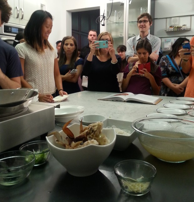 Bloggers observing chef Justin Quek of Sky 57 making crab vermicelli in a light ginger broth.